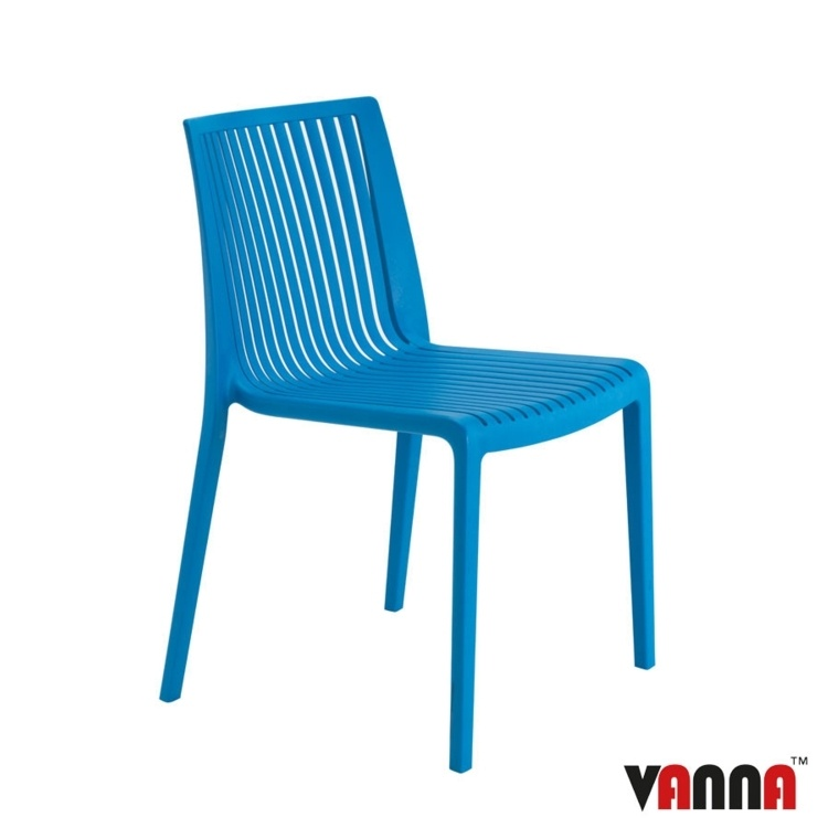 New Blue Reinforced Polypropylene Stacking Office Canteen Bistro Cafe Chairs