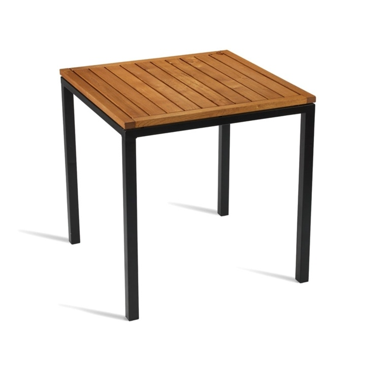 New ICE Powder Coated Metal Frame and Robinia Wood Top Square Dining Table