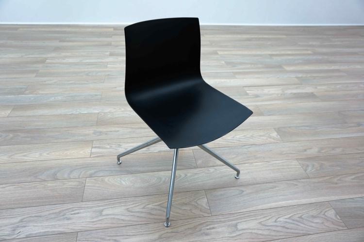 Arper Catifa 46 Black Plastic Chrome Base Office Meeting Chairs