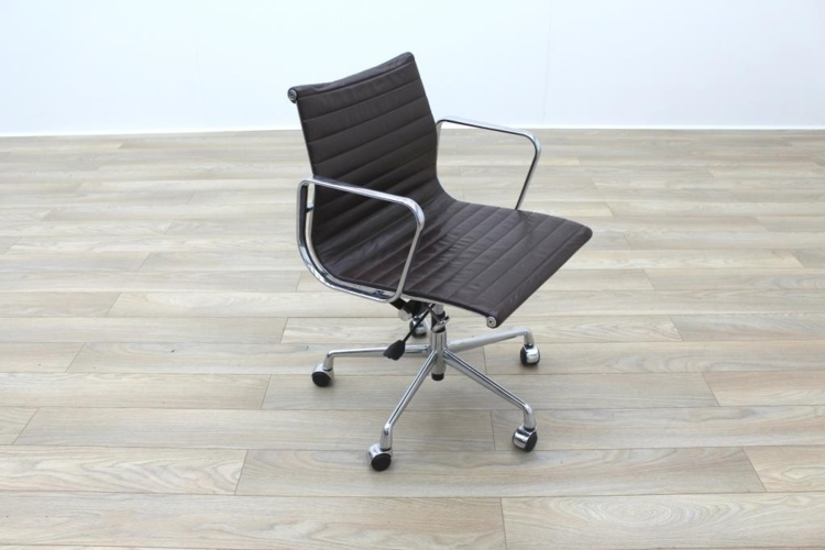 High Quality Charles Eames EA117 Style Brown Leather Ribbed Office Chair on Casters