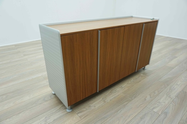Bene AL Walnut / Aluminium Executive Office Storage / Credenza Cupboard