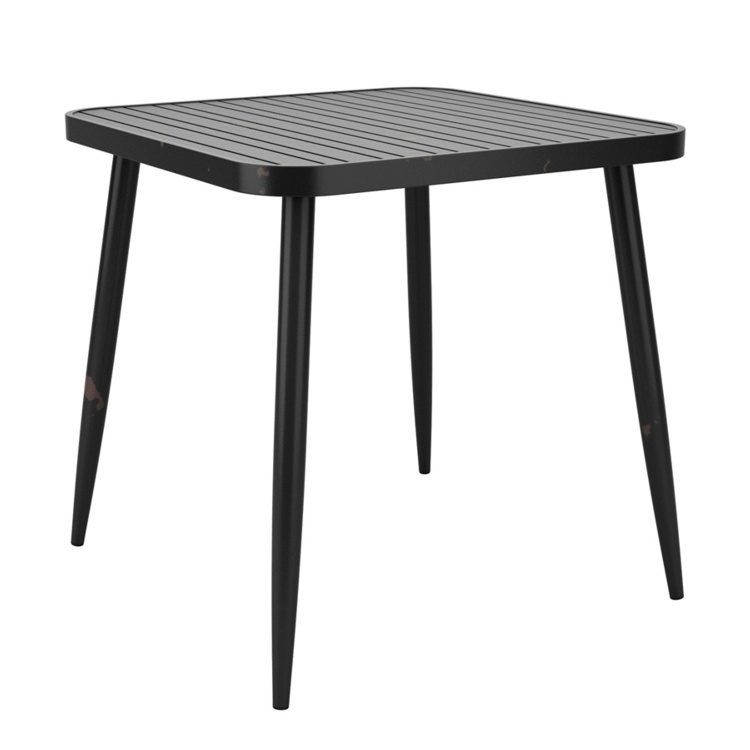 New Cafe Black Aluminium Vintage Finish Canteen Café Square Table