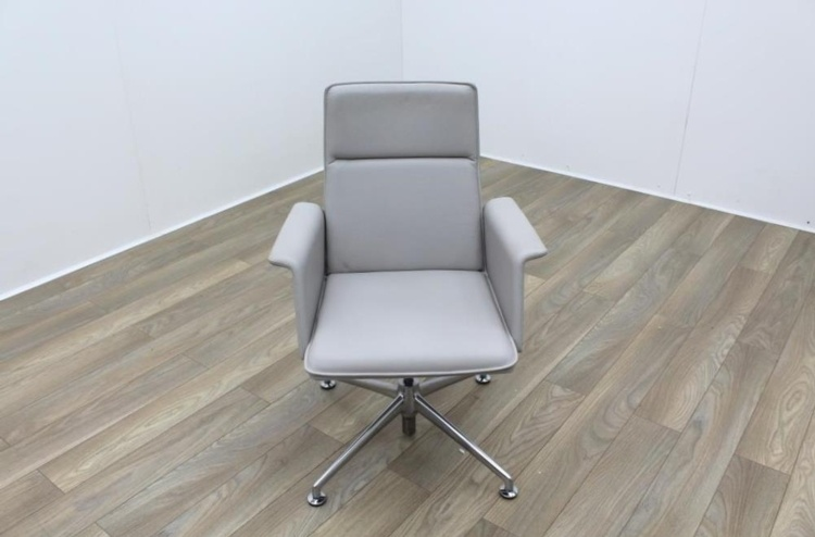 Brunner Grey Leather Meeting Chair