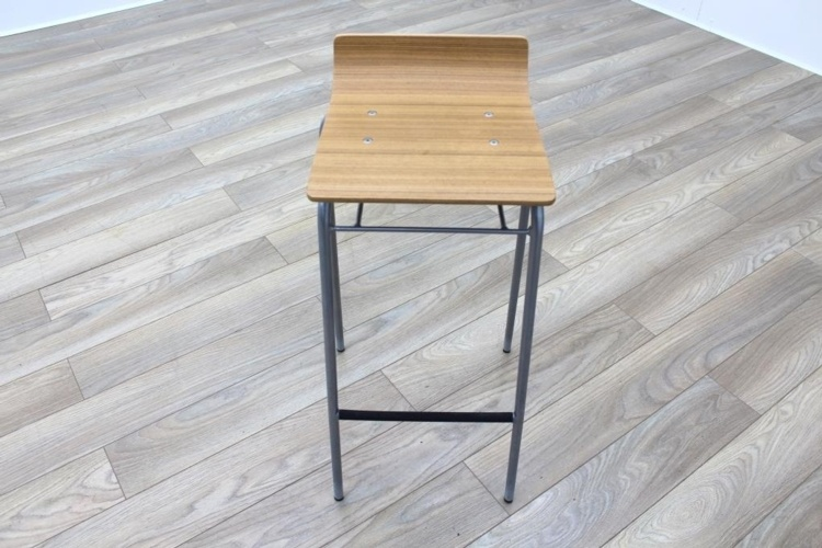 Allermuir Walnut Seat / Chrome Base Office Canteen Bar Stool