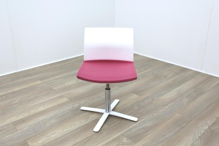 Dynamobel White Back Pink Fabric Seat Meeting Chair