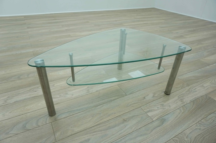 Triangular Curved 2 Tier Glass Office Coffee Table