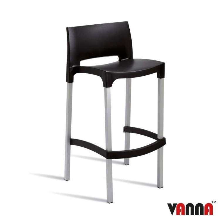New Black Polypropylene Aluminium Leg Stacking Canteen Cafe Bar Stools