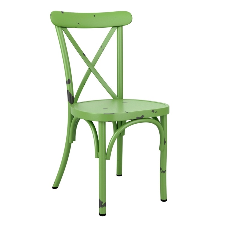 New Vintage Green Aluminium Stacking Contract Quality Cafe Bistro Dining Chairs