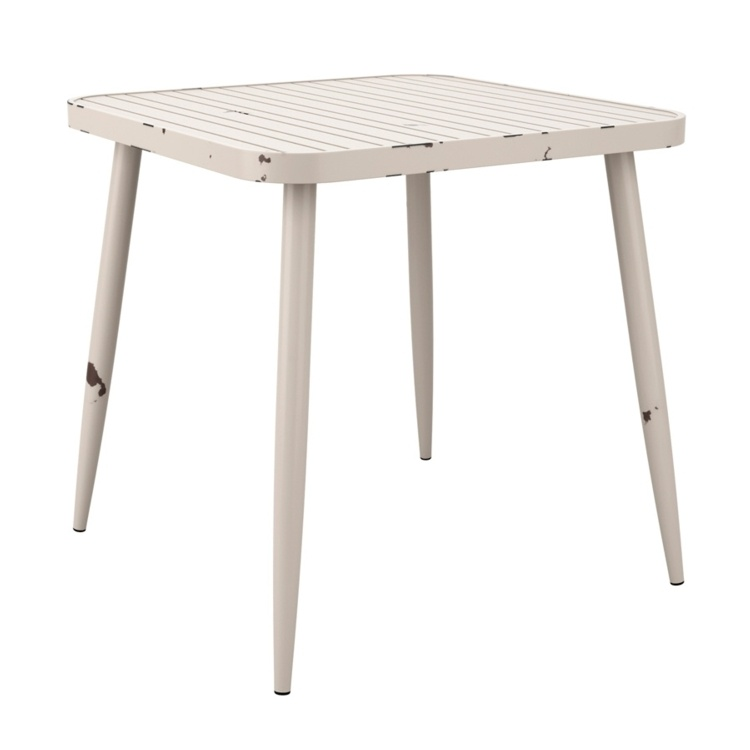 New Cafe White Aluminium Vintage Finish Canteen Café Square Table
