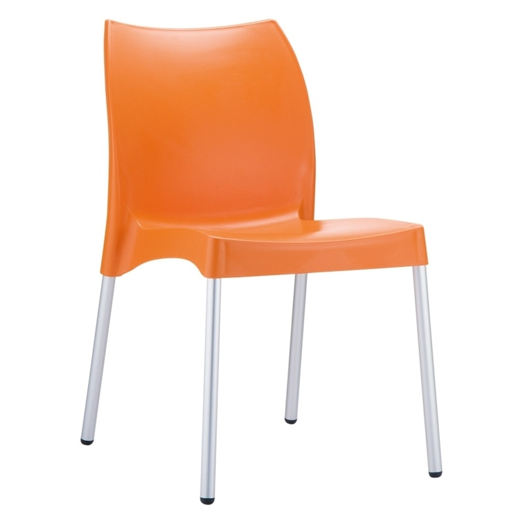 New Orange Polypropylene Aluminium Leg Stacking Office Canteen Cafe Bistro Meeting Chairs