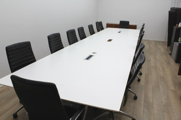 Fantastic White Boardroom Meeting Table With Cable Management Home Remodeling Inspirations Genioncuboardxyz