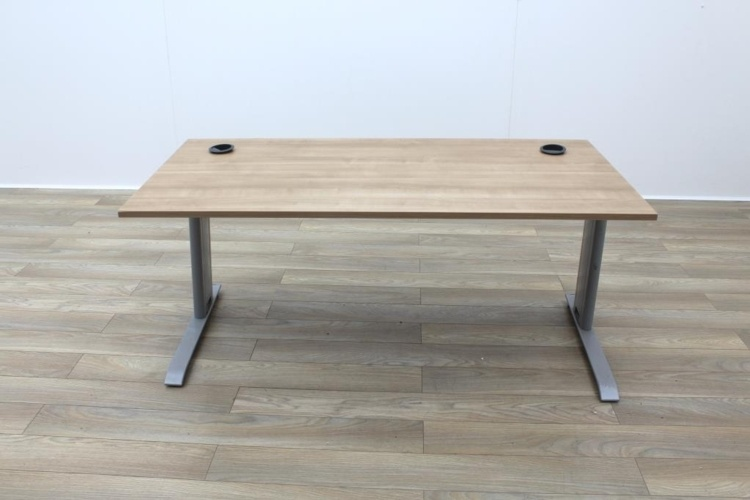 Light Walnut 1600mm Straight Office Desks