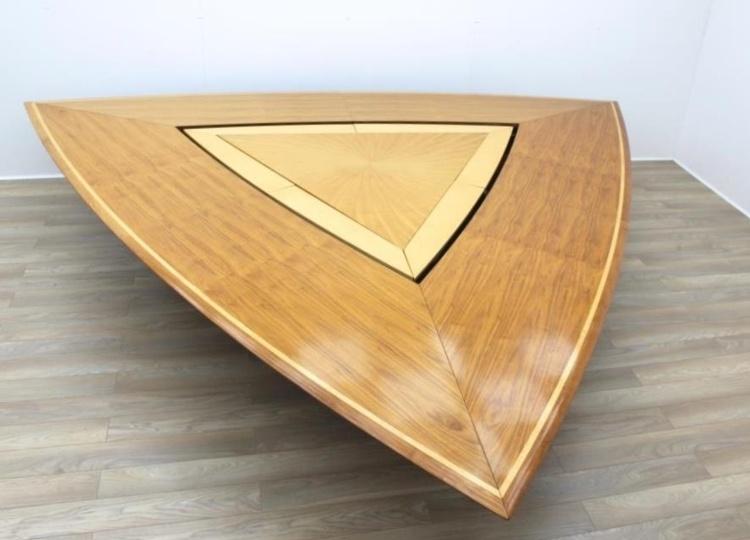 Stunning Rare Sven Christiansen Walnut / Maple Triangular Office Meeting Table