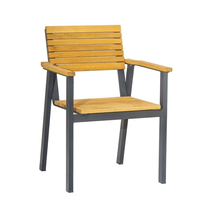 New BENCH Powder Coated Aluminium Frame and Robinia Wood Stacking Canteen Cafe Arm Chair