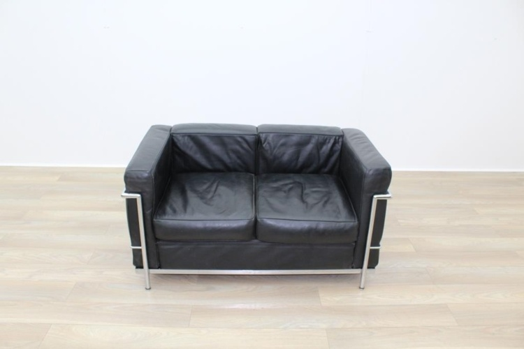 Black Leather Le Corbusier Style 2 Seater Office Reception Sofa