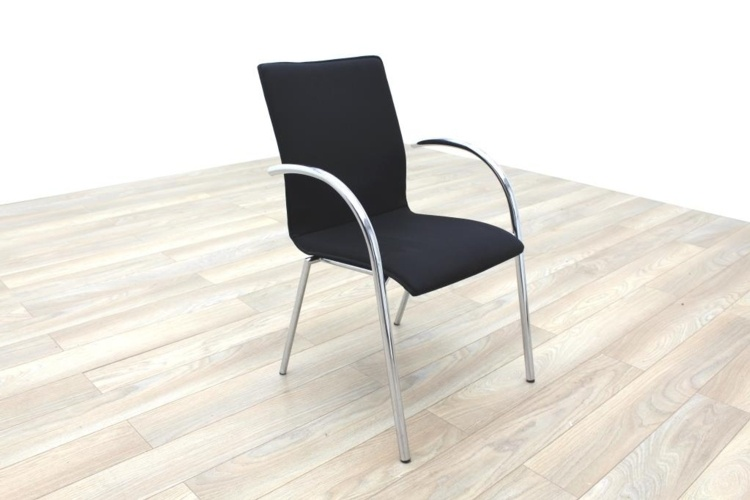 Black Fabric / Chrome Office Meeting Chairs