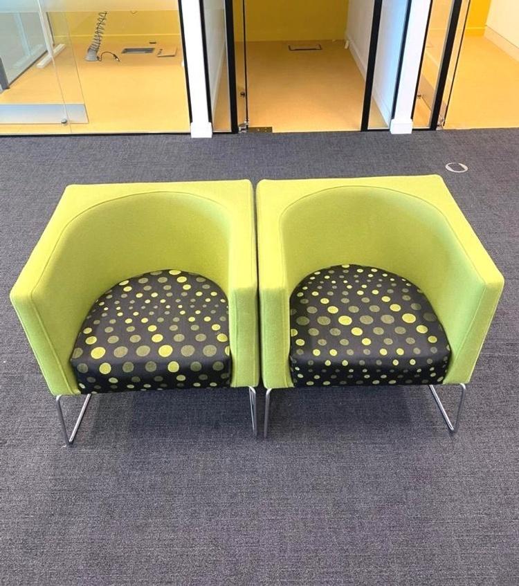 Green Fabric Polka Dot Side Chair