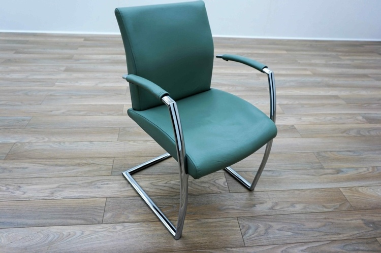 Orangebox Wave Grey / Green Leather Cantilever Office Meeting Chairs