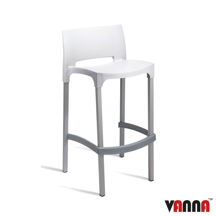 New White Polypropylene Aluminium Leg Stacking Canteen Cafe Bar Stools