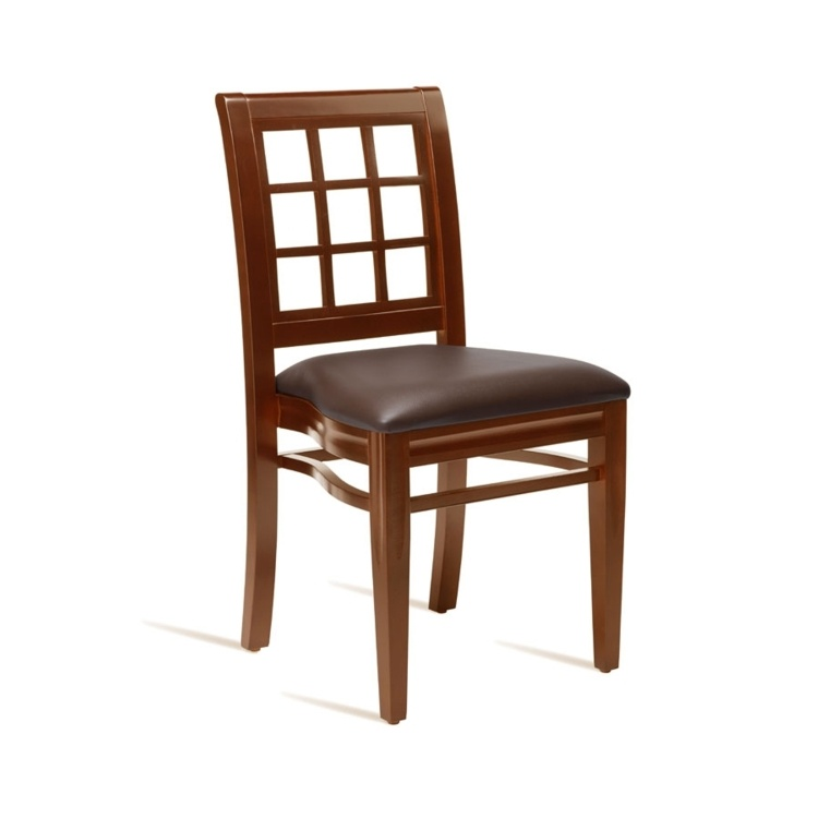 New RITZ Dark Walnut Solid Beech with Dark Brown Faux Leather Seat Pad Stacking Side Chair