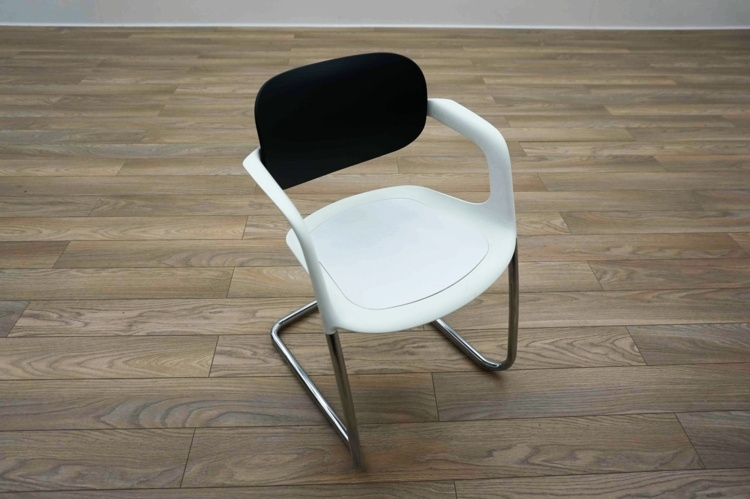 Allermuir A783 White / Black Office Stacking Meeting Chairs