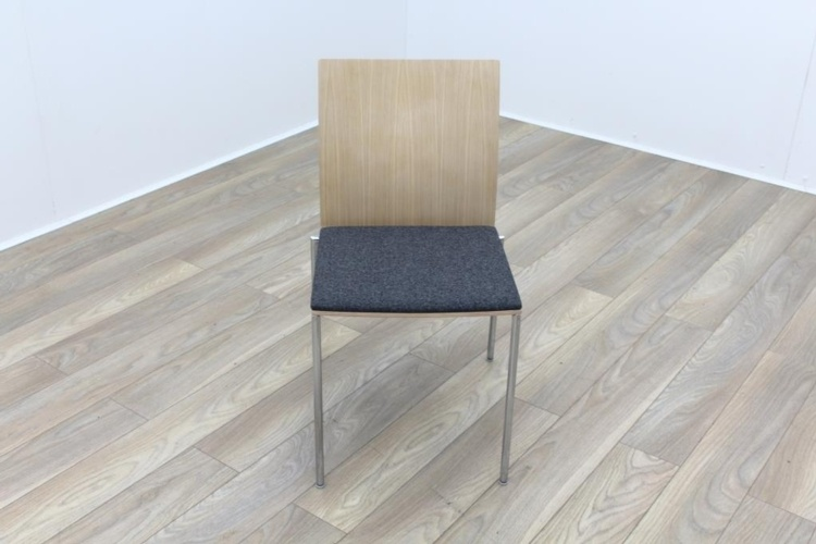 Brunner Oak Back Grey Fabric Seat Meeting Chair