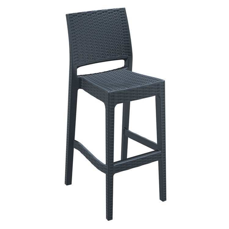 New Dark Grey Rattan Style Office Canteen Bistro Cafe Bar Stools