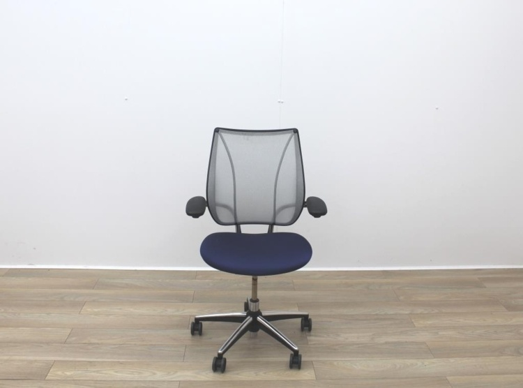Humanscale Liberty Blue Fabric / Grey Mesh Office Task Chairs