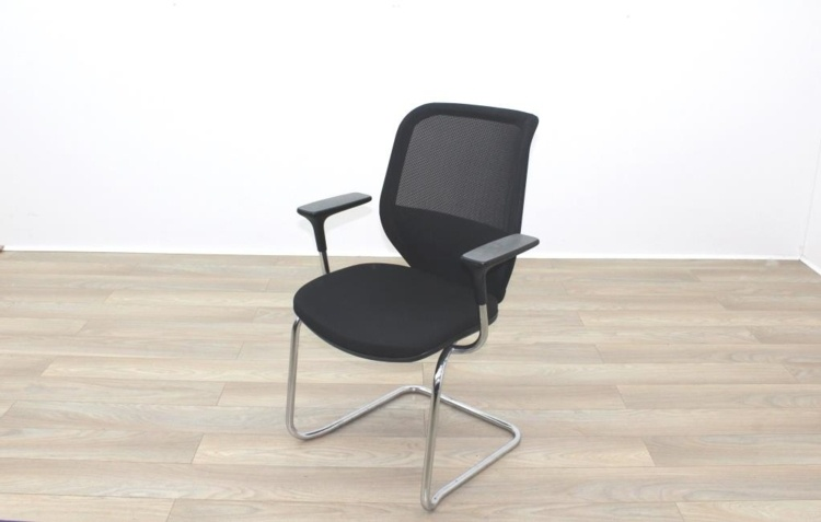 Orangebox Joy Black Fabric Seat / Black Mesh Back Cantilever Office Meeting Chairs
