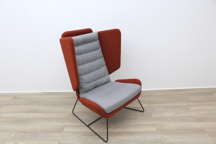 Big Red and Grey Reception Chairs With Metal Frame