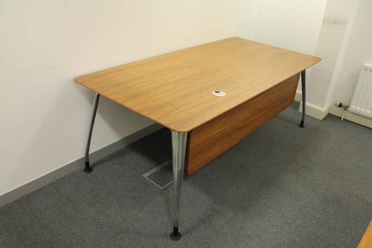 Walnut Verco Executive Desk With Chrome Legs