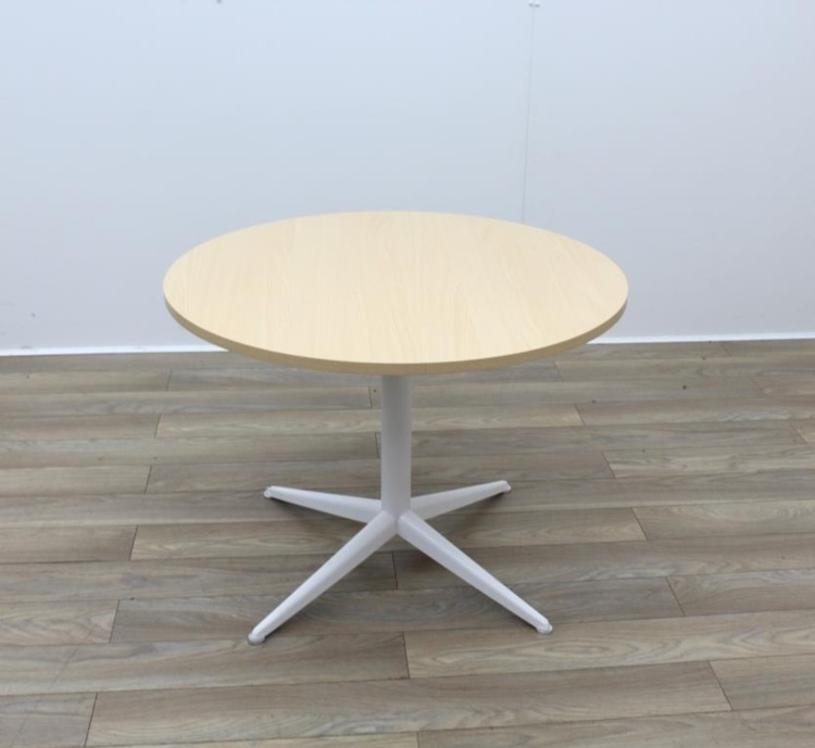 Maple Round Table With White Frame