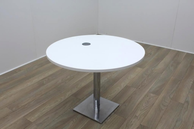 White Round Table with Cable Port
