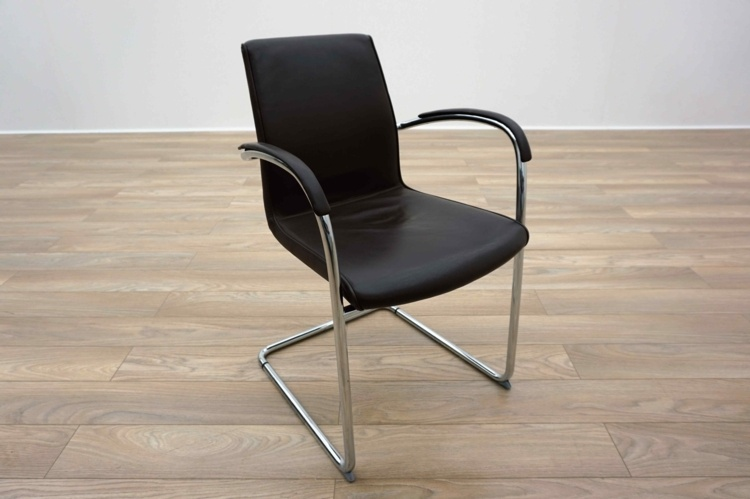 Kusch Co 8500 Ona Plaza Brown Leather Cantilever Office Meeting Chairs