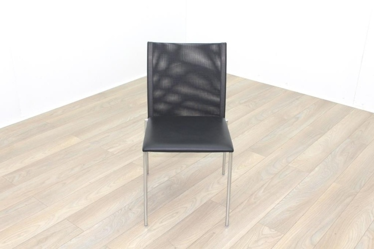 Brunner Black Mesh Back Black Leather Seat Meeting Chair
