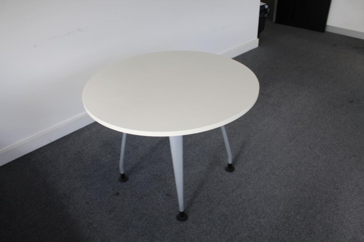 White Verco Round Meeting Table With Grey Legs