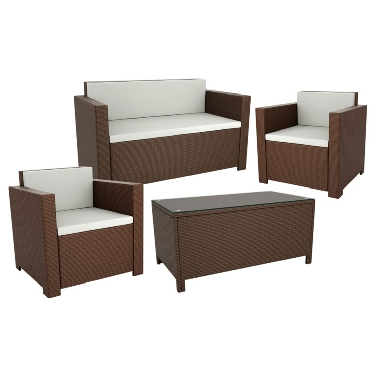 New 4 Piece Brown Mocca Wicker Solana Weave Rattan Style Garden Furniture Suite, Sofa, Chairs & Coffee Table, Cafe Bistro