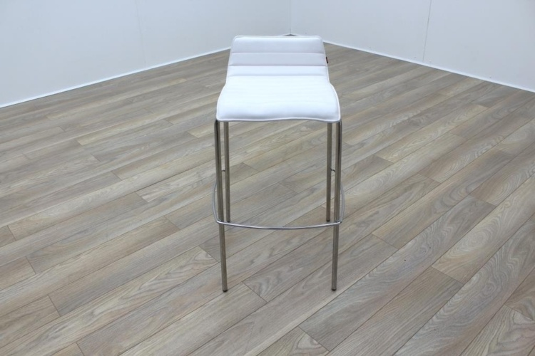 White Leather / Chrome Office Canteen / Cafe Bar Stools