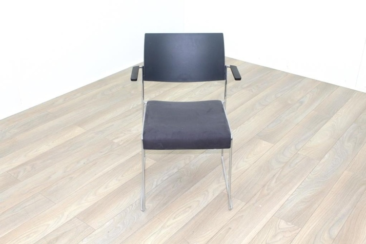 Brunner Dark Grey Polymer Back, Grey Velour Seat Meeting Chair