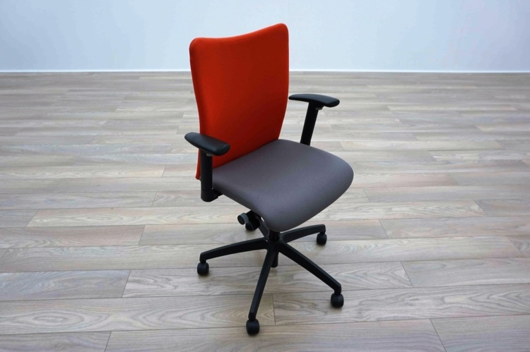 Grey / Orange Fabric Multifunction Office Task Chairs