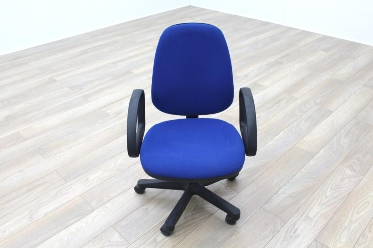 Blue Fabric Adjustable Operator Chairs