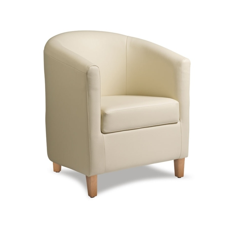 New BAY Cream High Quality Faux Leather Tub Chair