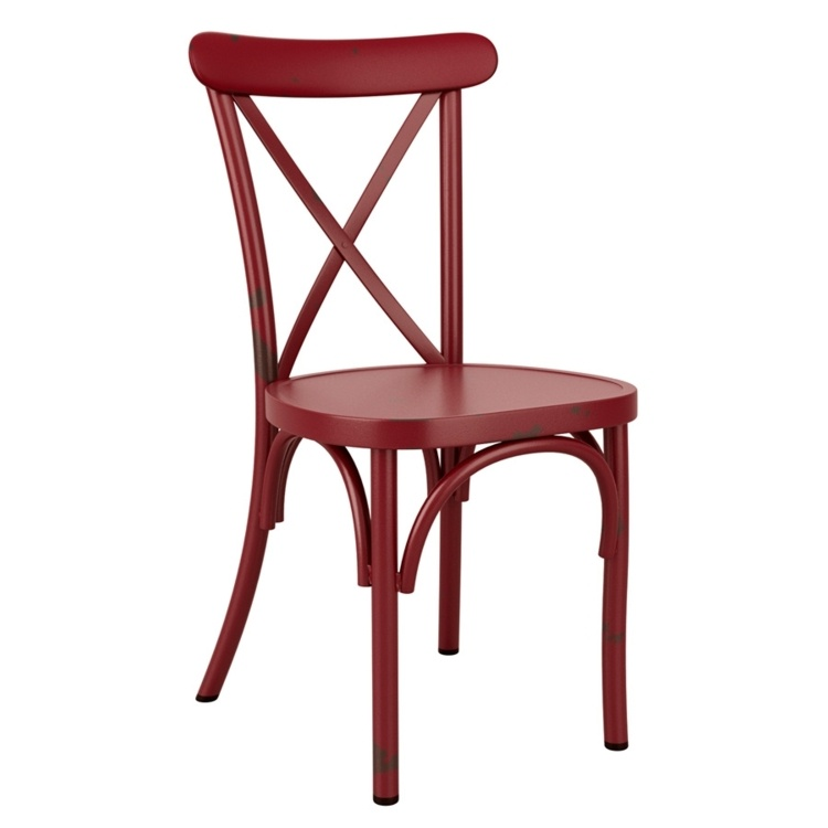 New Vintage Red Aluminium Stacking Contract Quality Cafe Bistro Dining Chairs