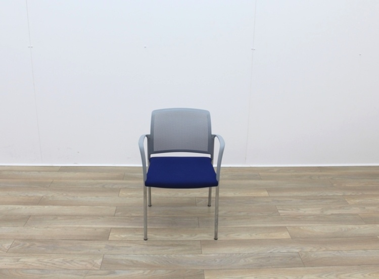 Boss Stacking Meeting Chairs Grey Back And Blue Seat