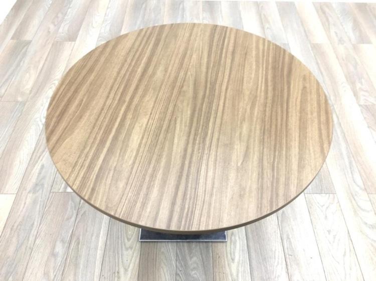 Walnut Round Table Chrome Base 850mm