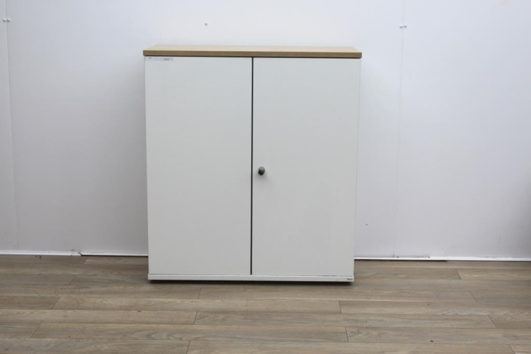 White double door cupboard with walnut top