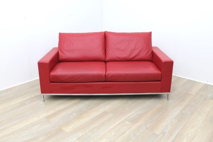 Red Leather Reception Sofa