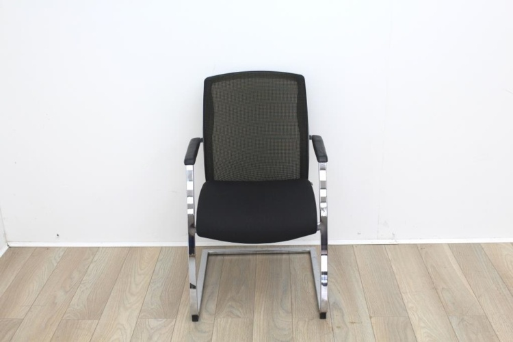 Black Seat/Dark Green Back Meeting Chair With Chrome Legs