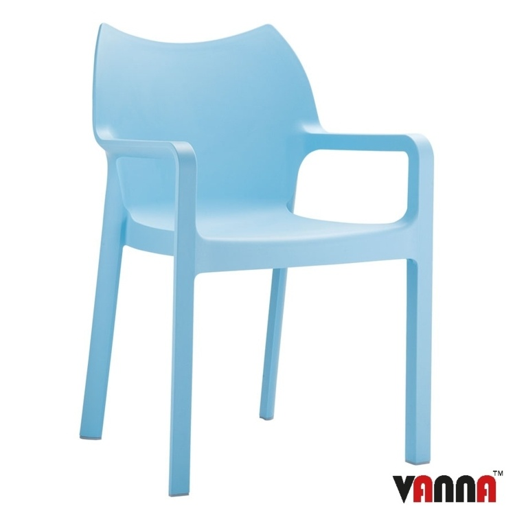 New Blue Moulded Plastic Stacking Office Canteen Cafe Bistro Meeting Arm Chairs