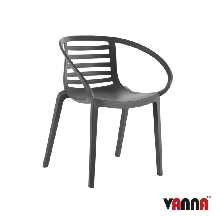 New Anthracite Reinforced Polypropylene Stacking Office Canteen Cafe Bistro Arm Chairs